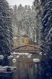 Μια απομονωμένη γέφυρα πέρα από το χειμερινό ποταμό Στοκ φωτογραφία με δικαίωμα ελεύθερης χρήσης