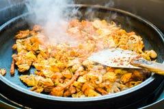 Μια από την κορεατική συμπάθεια: Κορεατικός πικάντικος ανακατώνει το τηγανισμένο λαχανικό, το κοτόπουλο και την κορεατικά πικάντι Στοκ Φωτογραφία