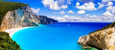 Μια από τις ομορφότερες παραλίες της Ελλάδας Πόρτο Katsiki στο LE Στοκ εικόνα με δικαίωμα ελεύθερης χρήσης