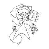 Μια αστεία γάτα βρίσκεται σε ένα κρεβάτι με τις σοκολάτες και επικοινωνεί απεικόνιση αποθεμάτων