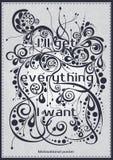 Μια αφίσα με την εγγραφή θα πάρω όλα που θέλω την κινητήρια πηγή αφισών, έμβλημα, κάρτες διακοσμητικό κείμενο Στοκ Εικόνες
