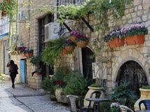 Μια αλέα στο εβραϊκό τέταρτο της παλαιάς πόλης Tzfat Ισραήλ Στοκ Εικόνες