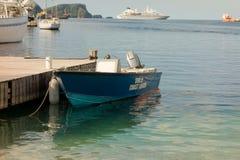 Μια βάρκα ακτοφυλακής στο λιμενοβραχίονα τουριστών στο λιμένα Elizabeth στοκ εικόνα με δικαίωμα ελεύθερης χρήσης