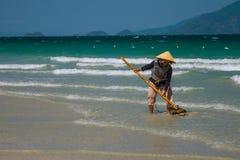 Μια βιετναμέζικη γυναίκα συλλέγει τα κοχύλια θάλασσας στην ακτή σε Nha Trang, Βιετνάμ Στοκ Εικόνα