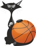 Μια γάτα με μια σφαίρα για την καλαθοσφαίριση Στοκ Φωτογραφίες