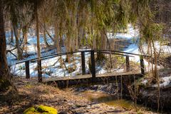 Μια γέφυρα πέρα από ένα ρεύμα σε ένα δάσος σε ένα δάσος άνοιξη στοκ φωτογραφίες