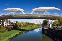 Μια γέφυρα τοπίων πέρα από τον ωχρό ποταμό Nian στην πόλη Pingtung, Ταϊβάν Στοκ εικόνα με δικαίωμα ελεύθερης χρήσης