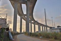 Μια γέφυρα Stonecutters και η εθνική οδός sha Tsing στοκ φωτογραφία