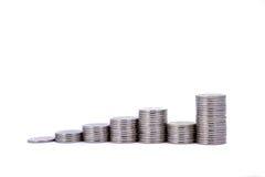 Μια γραφική παράσταση αύξησης φιαγμένη από νομίσματα Στοκ Φωτογραφία