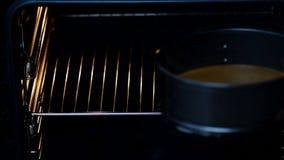 Μια γυναίκα βάζει ένα κτύπημα σε μια μορφή σε έναν φούρνο - κινηματογράφηση σε πρώτο πλάνο απόθεμα βίντεο
