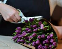 Μια γυναίκα κάνει μια ανθοδέσμη των λουλουδιών στον πίνακα Τουλίπες, που τυλίγονται ιώδεις στο έγγραφο Στοκ Φωτογραφία