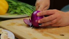 Μια γυναίκα κόβει ένα κόκκινο κρεμμύδι με ένα μαχαίρι σε έναν ξύλινο πίνακα απόθεμα βίντεο