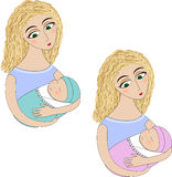 Μια γυναίκα με ένα μωρό ελεύθερη απεικόνιση δικαιώματος