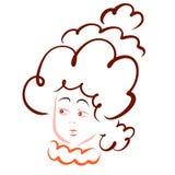 Μια γυναίκα με ένα πολύ θαυμάσιο hairdo για μια σφαίρα διανυσματική απεικόνιση