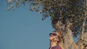 Μια γυναίκα με τα γυαλιά ηλίου στηρίζεται κάτω από την κορώνα μιας ελιάς εκθέτοντας το πρόσωπό της στον ήλιο απόθεμα βίντεο