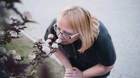 Μια γυναίκα με τα γυαλιά κλίνει στα λουλούδια στο πάρκο και τα ρουθουνίζει o απόθεμα βίντεο