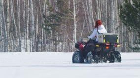 Μια γυναίκα με την τρίχα πιπεροριζών το χειμώνα ντύνει το όχημα για το χιόνι οδήγησης στο δάσος απόθεμα βίντεο