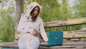 Μια γυναίκα που δακτυλογραφεί και που εργάζεται σε ένα lap-top με ένα σκυλί απόθεμα βίντεο