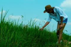 Μια γυναίκα που περπατά γύρω από τον τομέα ρυζιού και το όμορφο υπόβαθρο μπλε ουρανού, φαίνεται ευτυχής και χαλαρώνει στοκ εικόνα