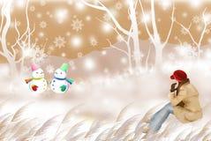 Μια γυναίκα που προσέχει το χαριτωμένο χιονάνθρωπο, χειμερινό ταξίδι - γραφική σύσταση ζωγραφικής διανυσματική απεικόνιση