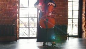 Μια γυναίκα που στέκεται στο δωμάτιο και που παίζει το βιολοντσέλο απόθεμα βίντεο