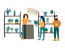 Μια γυναίκα πωλεί τους κάκτους και succulents σε ένα ανθοπωλείο Επίπεδη απεικόνιση ύφους Πελάτης και μια βοηθητική έννοια καταστη απεικόνιση αποθεμάτων