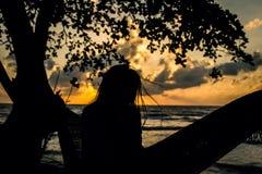 Μια γυναίκα σκιαγραφιών σε μια αιώρα Στοκ Φωτογραφίες