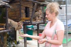 Μια γυναίκα ταΐζει έναν μικρό πίθηκο Στοκ Εικόνα