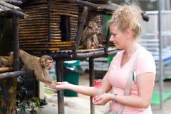 Μια γυναίκα ταΐζει έναν μικρό πίθηκο Στοκ φωτογραφία με δικαίωμα ελεύθερης χρήσης