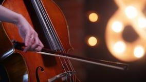 Μια γυναίκα υποκύπτει τις σειρές βιολοντσέλων - υπερασπιμένος το παράθυρο απόθεμα βίντεο