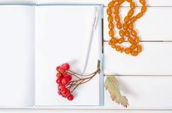 Μια δέσμη κόκκινο rowanberry μούρων διακοσμεί μια μάνδρα σημειωματάριων με χάντρες Στοκ φωτογραφίες με δικαίωμα ελεύθερης χρήσης