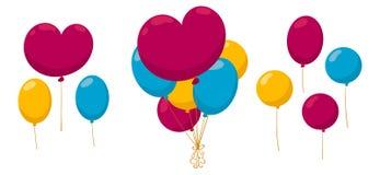 Μια δέσμη των ζωηρόχρωμων μπαλονιών Στοκ Εικόνες