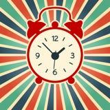 Μια διανυσματική απεικόνιση του απλού κόκκινου ξυπνητηριού στο εκλεκτής ποιότητας υπόβαθρο Παλαιά, σύγχρονη σκιαγραφία ρολογιών διανυσματική απεικόνιση