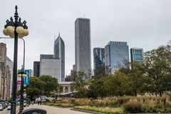 Μια δραματική άποψη του ορίζοντα του Σικάγου στοκ φωτογραφίες με δικαίωμα ελεύθερης χρήσης