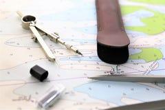Μια εικόνα έννοιας ενός ναυτικού σχεδίου - χαρτογραφήστε, προγραμματίστε Στοκ Εικόνα