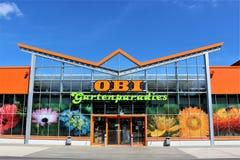 Μια εικόνα ενός καταστήματος OBI - λογότυπο - Minden/Γερμανία - 07/18/2017 Στοκ Εικόνα