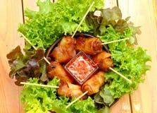 Μια εικόνα της άνοιξη κοτόπουλου κυλά με τη βυθίζοντας σάλτσα λαχανικών και καρότων σε ένα πιάτο στοκ φωτογραφίες με δικαίωμα ελεύθερης χρήσης