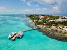 Μια εναέρια άποψη της Isla Mujeres σε Cancun, Μεξικό στοκ φωτογραφία με δικαίωμα ελεύθερης χρήσης