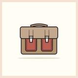 Μια ενιαία σχολική τσάντα εικονιδίων σε ένα ελαφρύ υπόβαθρο Στοκ Εικόνα