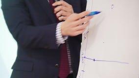 Μια επιχειρησιακή διάσκεψη Ένα άτομο που επισύρει την προσοχή ένα πρόγραμμα στο γραφείο ενώ διάλεξη φιλμ μικρού μήκους