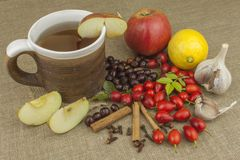 Μια επιδημία γρίπης Παραδοσιακή εγχώρια επεξεργασία για τα κρύα και τη γρίπη Rosehip τσάι, μέλι και εσπεριδοειδή Στοκ Εικόνες