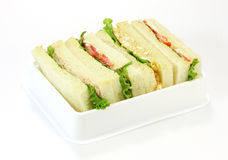 Μια επιλογή των σάντουιτς με τις διάφορες γαρνιτούρες Στοκ Εικόνα