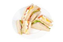 Μια επιλογή των σάντουιτς με τις διάφορες γαρνιτούρες Στοκ Εικόνες