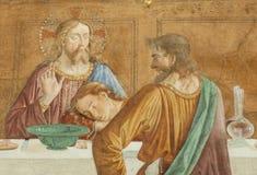Μια λεπτομέρεια του Cenacolo, από το Domenico Ghirlandaio Στοκ Φωτογραφίες
