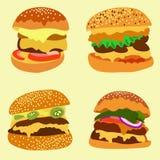Μια ευρεία ποικιλία των εύγευστων burgers Στοκ Φωτογραφία