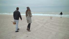 Μια ευτυχής οικογένεια ήρθε στην παραλία για ένα πικ-νίκ Σκυλί απόθεμα βίντεο