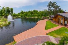 Μια ευχάριστη άποψη της ξύλινης πλατφόρμας της ακτής λιμνών με τις πάπιες που επιπλέουν δίπλα σε το και την πηγή Στοκ εικόνες με δικαίωμα ελεύθερης χρήσης