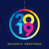 2019 μια ευχετήρια κάρτα καλής χρονιάς Διανυσματική απεικόνιση