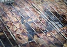 Μια εύγευστη μπριζόλα στον καπνό σχαρών στοκ εικόνες