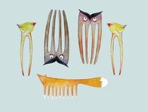 Μια ζωική συλλογή των βουρτσών γηα τα μαλλιά και hairpins για τα παιδιά για τους επαγγελματικούς στιλίστες τρίχας και moms Στοκ Φωτογραφίες
